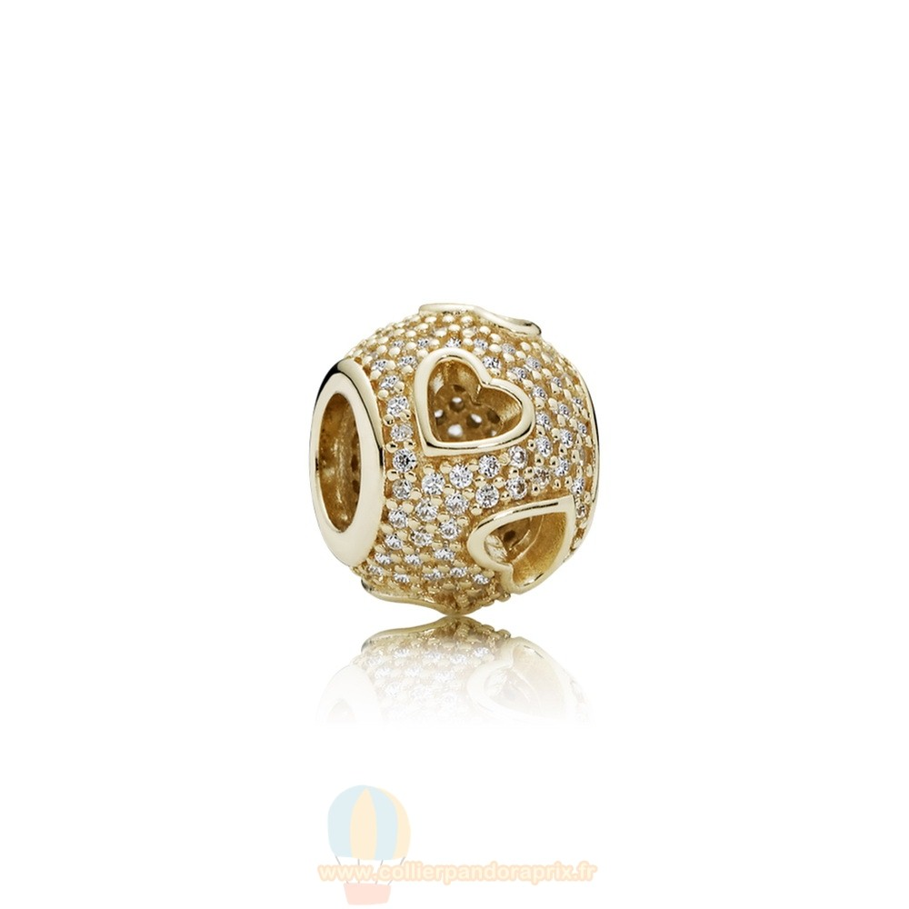 Populaire Pandora Pandora Collections Tumbling Coeurs Charme Clear Cz 14K Or