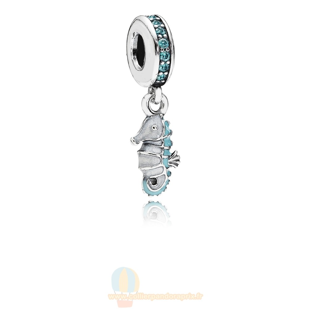 Populaire Pandora Pandora Dangle Breloques Tropical Seahorse Dangle Charm Teal Cz Turquoise Email