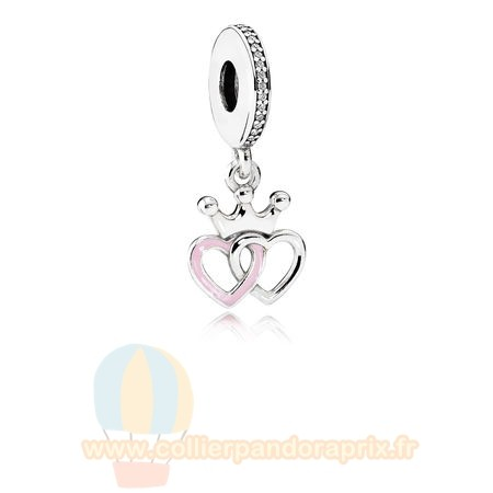 Populaire Pandora Pandora Fairy Tale Charms Crowned Coeurs Dangle Charm Orchid Rose Enamel Clear Cz