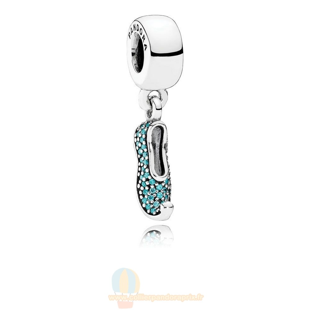 Populaire Pandora Disney Jasmine'S Mousseux Slipper Dangle Charm Teal Cz