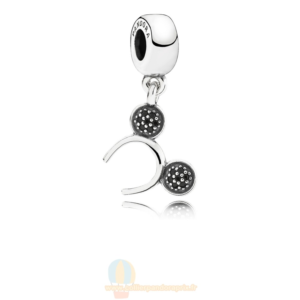 Populaire Pandora Disney Mickey Bandeau Dangle Charm Black Cz