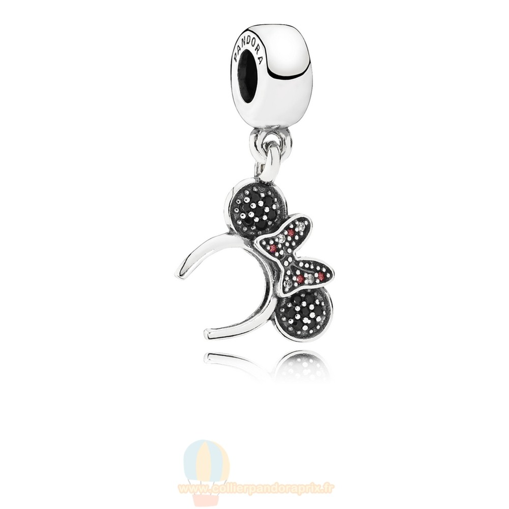 Populaire Pandora Disney Minnie Bandeau Dangle Charm Noir Rouge Cz