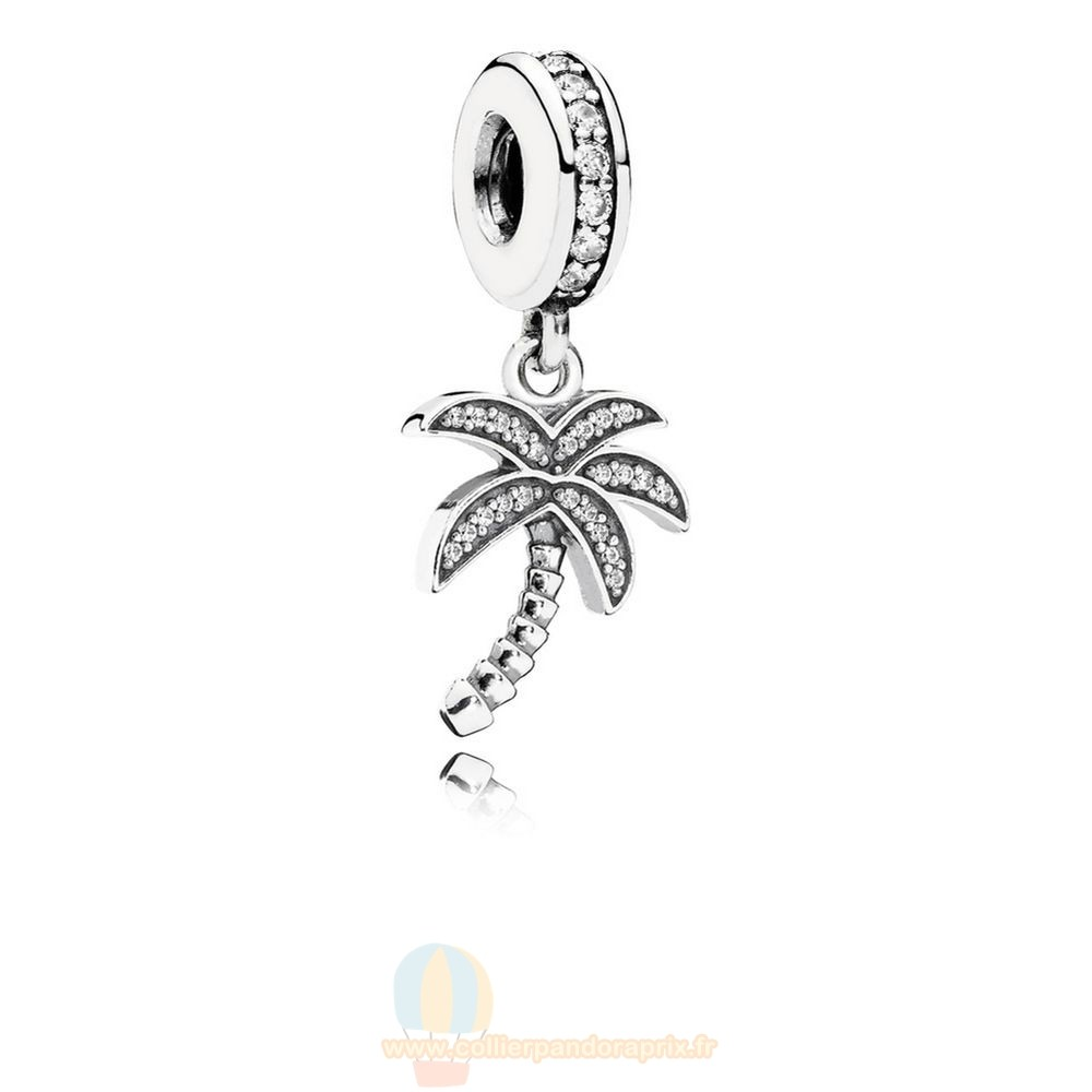 Populaire Pandora Pandora Nature Charms Charmant Palmier Dangle Charme Clear Cz