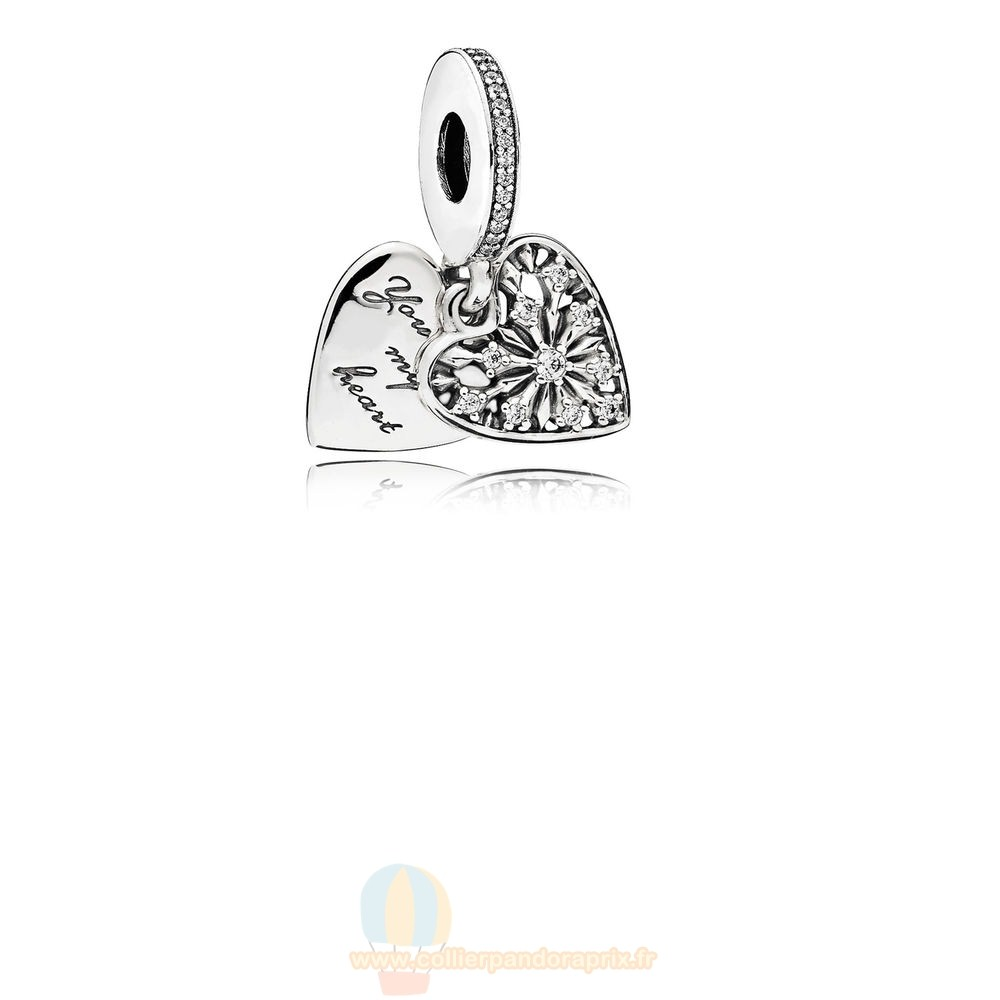 Populaire Pandora Pandora Nature Charms Coeur De Hiver Dangle Charm Clear Cz