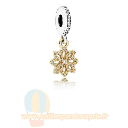 Populaire Pandora Pandora Nature Charms Dentelle Botanique Dangle Charm Clear Cz 14K Or