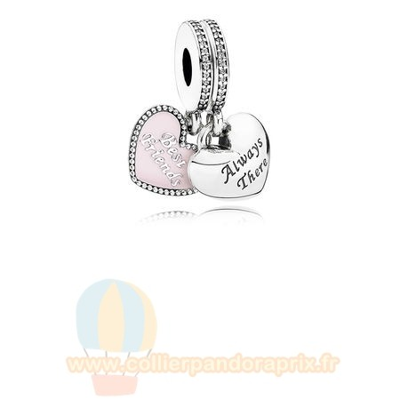 Populaire Pandora Dangle Charms Meilleur Amis Soft Rose Email Clear Cz