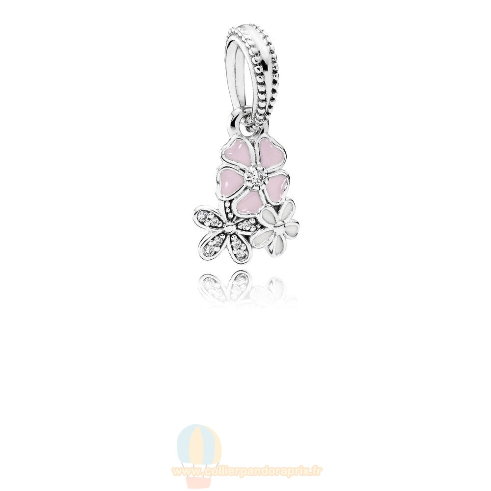 Populaire Pandora Pandora Nature Charms Poetique Fleurs Dangle Charm Melange Emaux Clear Cz