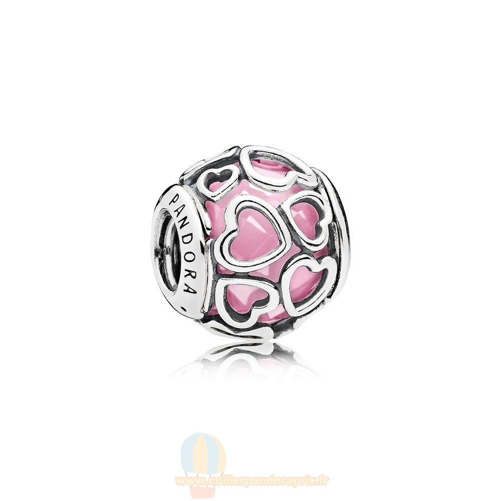 Populaire Pandora Pandora Paillettes Paves Charms Encased In Amour Charm Rose Cz